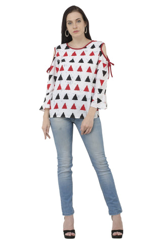 Decent Cold Shoulder Trio Print Top