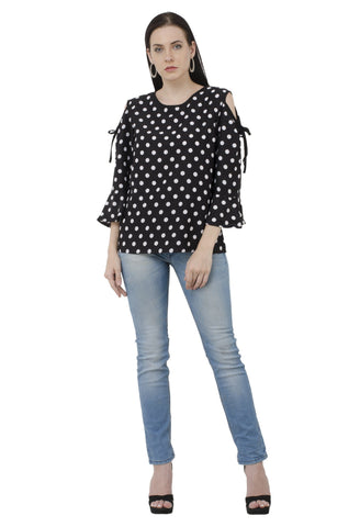 Black Dot Print Cold Shoulder Top