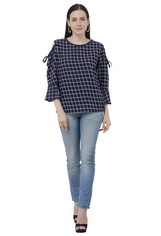 Blue Knot Neck Cold Shoulder Check Top