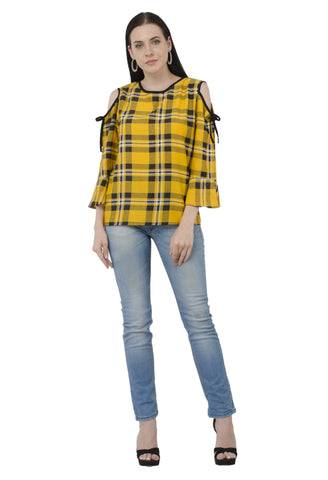 Sunshine Cold Shoulder Check Top