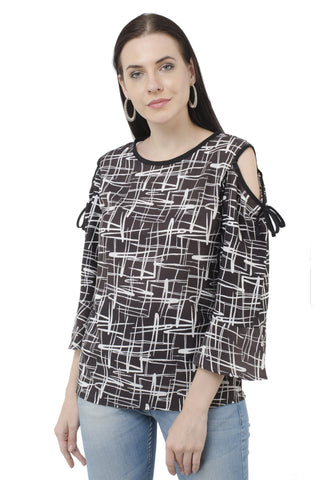 Black White Digital Print Cold Shoulder Top