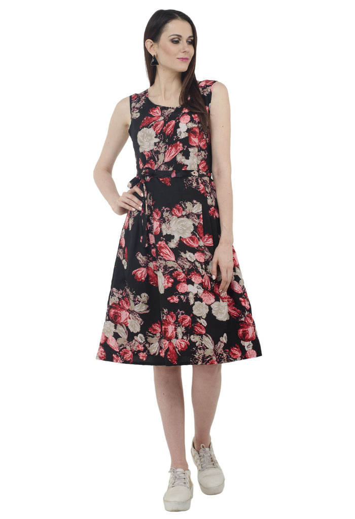 AnshiRoyal Multicolor Floral Black Dress