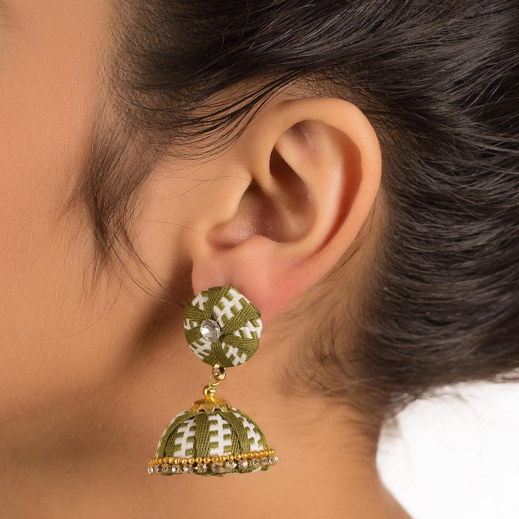 Designer Beige Earring With Thread Work