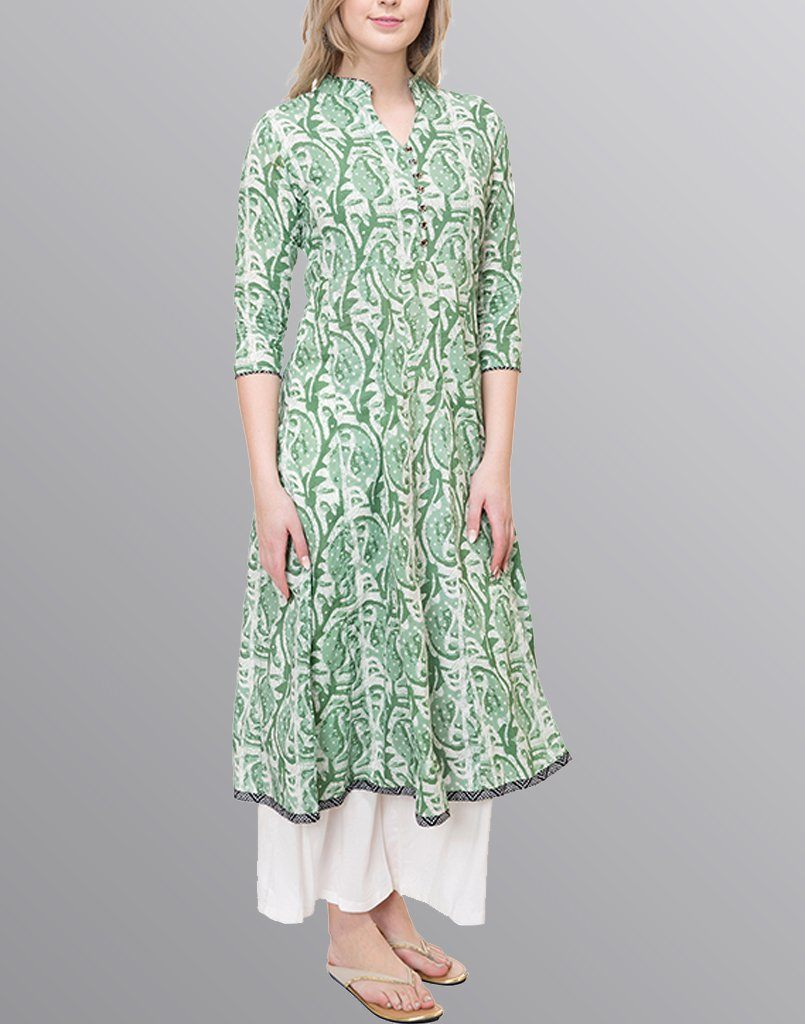Aasiya Green Colored Cotton Anarkali Kurta