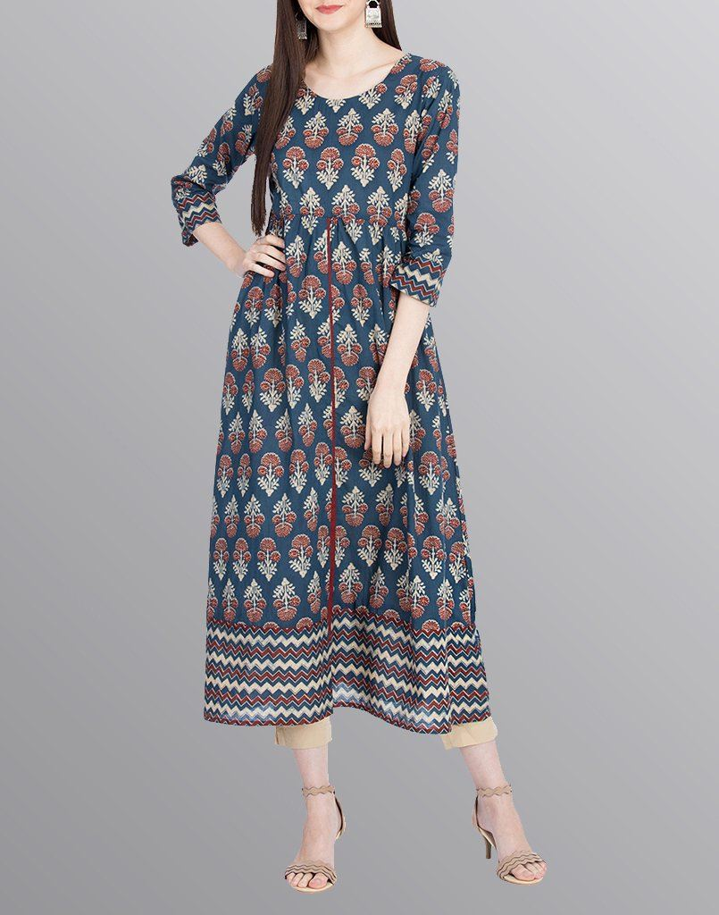 Aasiya Blue Colored Cotton Anarkali Kurta
