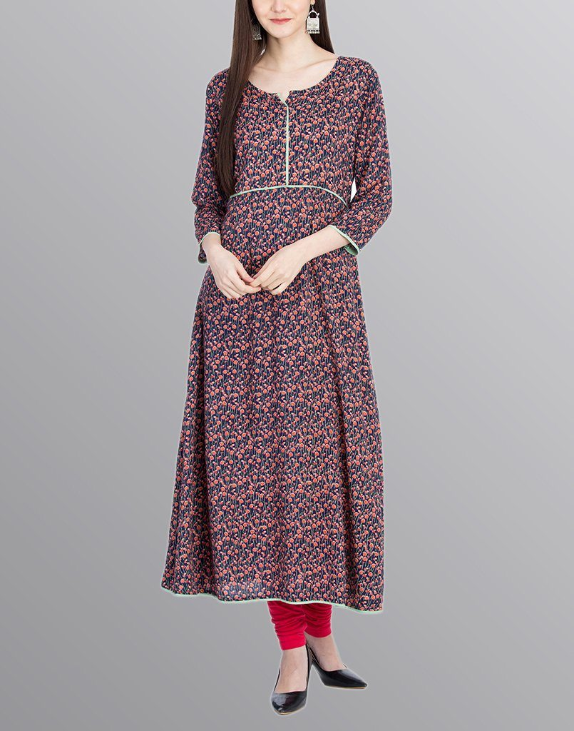 Aasiya Blue Colored Rayon Printed Anarkali Kurta