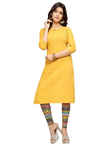 Manini Womens Wear Yellow Color Ethnic Fashionable Kurtis _ M