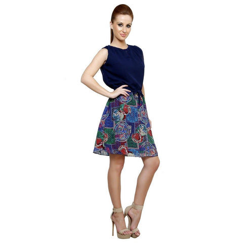 Fit And Flare Botanical Prints A line Multicolor Georgette Dress