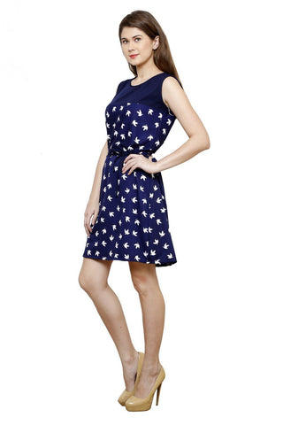 Fit And Flare Botanical Prints Empire Waist Blue Crepe Dress