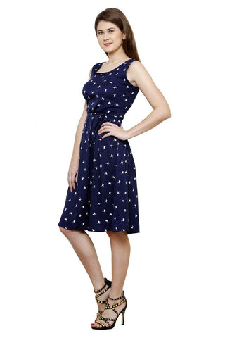 Fit And Flare Botanical Prints A line Blue Dress
