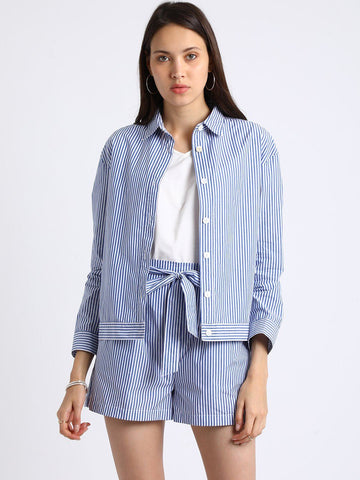 Besiva Women's Blue Stripe Print Blazer And Shorts Co-Ordinates