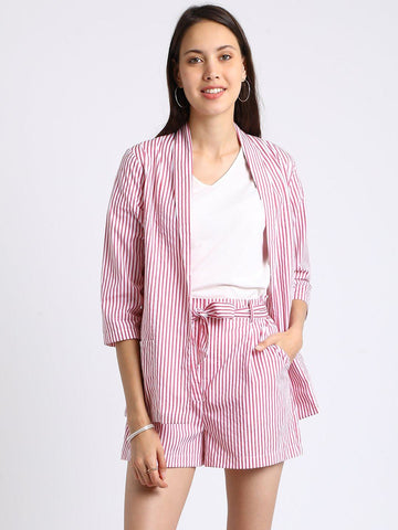 Besiva Women's Pink Stripe Blazer And Shorts Co-Ordinates