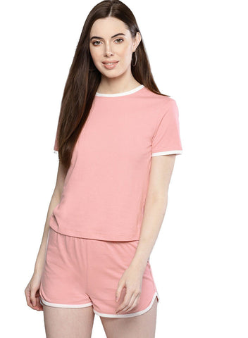 Besiva Women's Pink T-Shirt And Shorts Co-Ordinates