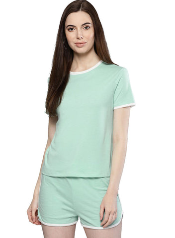 Besiva Women's Green T-Shirt And Shorts Co-Ordinates