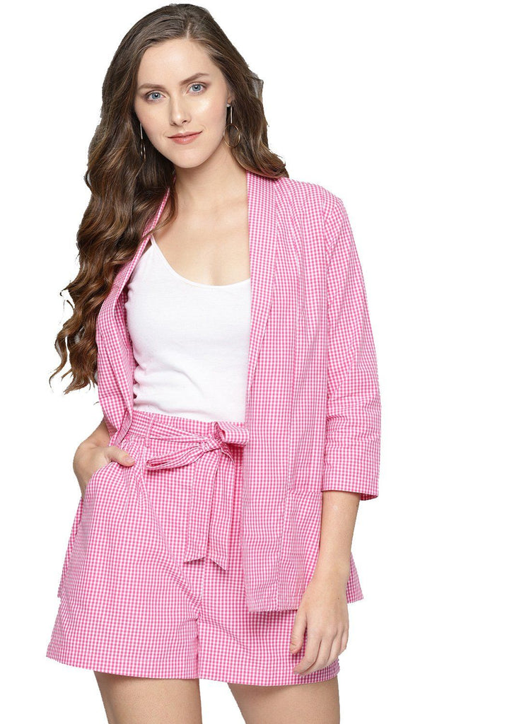 Besiva Women's Pink Gingham Shorts And Blazer Co-Ord