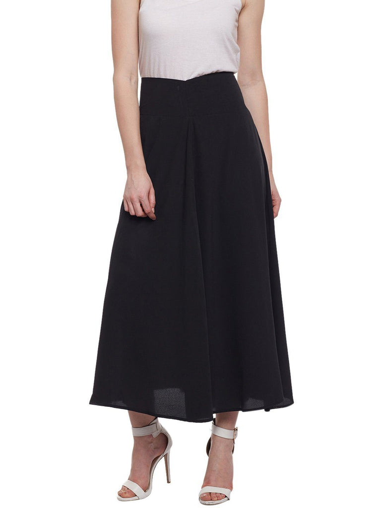 Black Solid Crepe Skirt