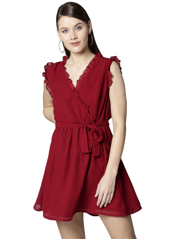 Besiva Women's Red Frill Sleeveless Mini Dress