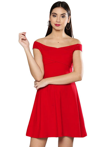 Besiva Women's Red Off Shoulder Dress