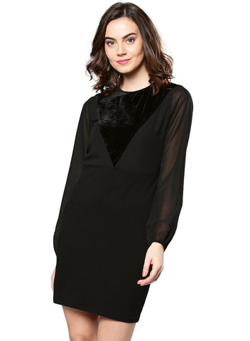 Besiva Women's Black Long Sleeve Dress