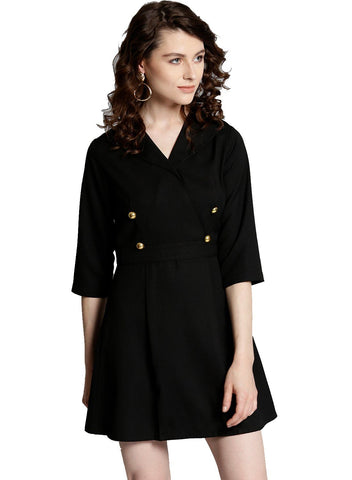 Besiva Women's Black Three Quarter Sleeve Dress