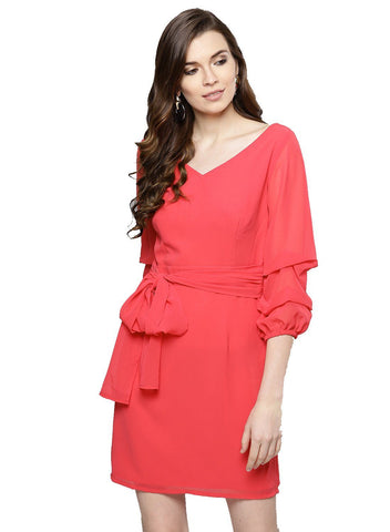 Besiva Women's Pink V-Neck Three Quarter Statement Sleeve Dress