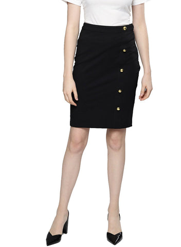 Besiva Women's Black Pencil Front Slit Skirt