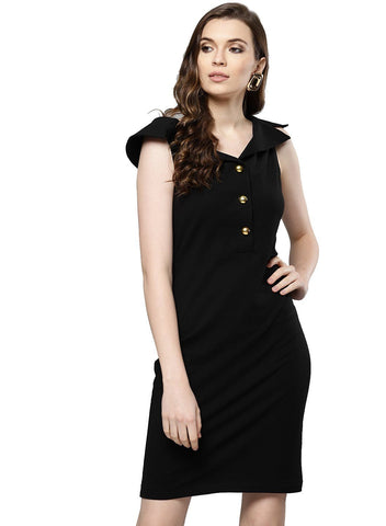 Besiva Women's Black Sleeveless Dress