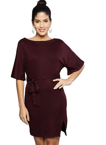 Besiva Women's Wine Half Sleeve Belted Dress