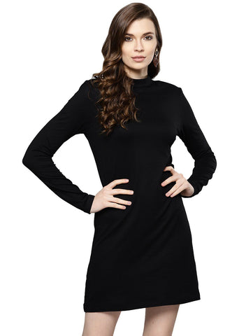 Besiva Women's Black Full Sleeve Dress