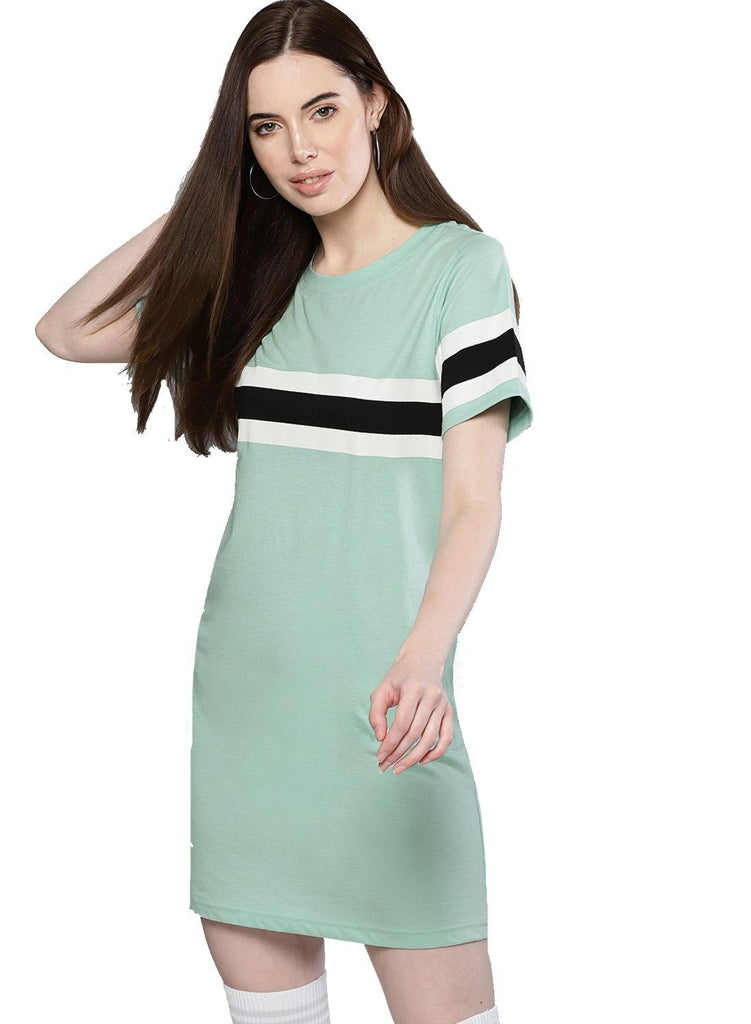 Besiva Women's Green Half Sleeve Athleisure  Dress