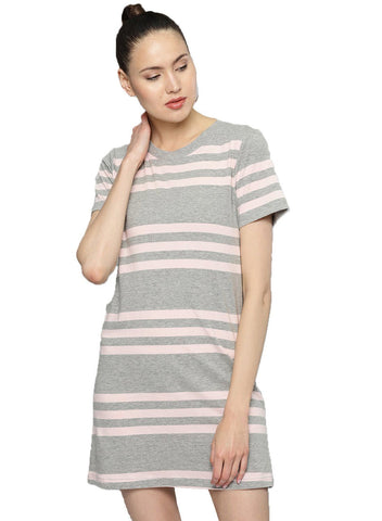 Besiva Women's Pink And Grey Stripe Half Sleeve T-Shirt Dress