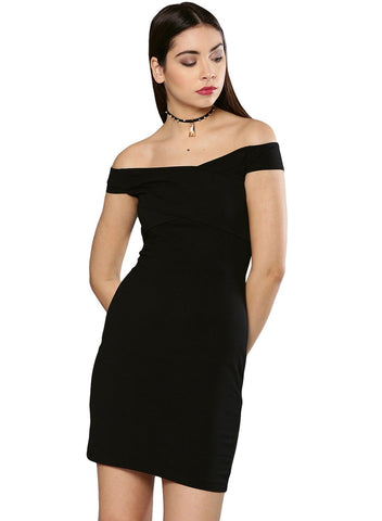 Besiva Women's Black Off Shoulder Dress