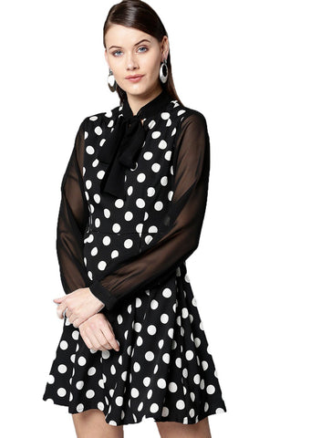 Besiva Women's Black Polka Full Sleeve Dress