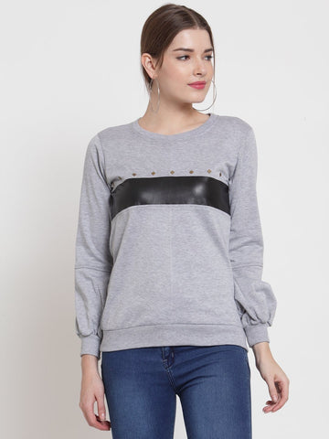 Belle Fille Grey Melange Cool Sweatshirts