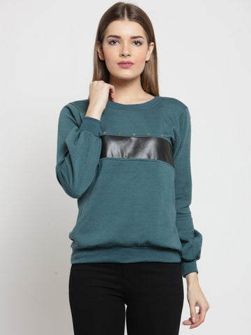 Belle Fille Casual Teal Sweatshirts