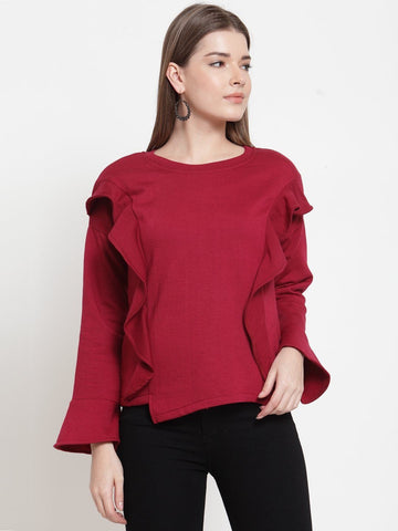Belle Fille Cute Maroon Sweatshirts