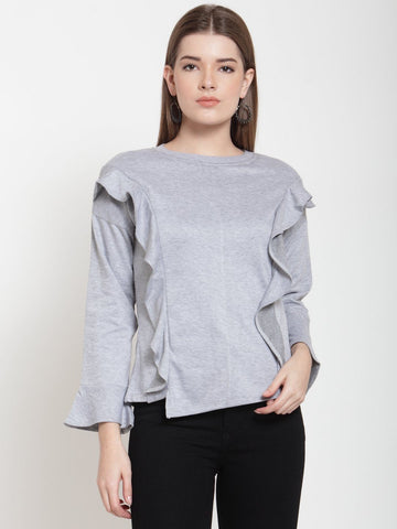 Belle Fille Cute Grey Melange Sweatshirts