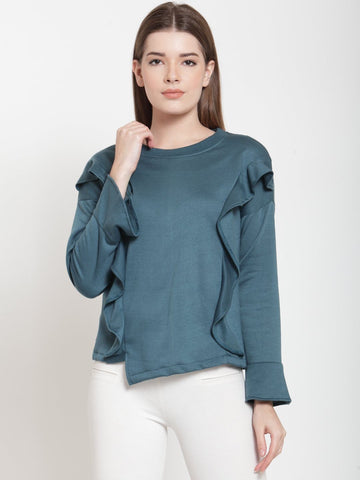 Belle Fille Teal Stylish Sweatshirts