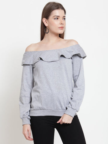 Belle Fille Grey Melange Sassy Sweatshirts