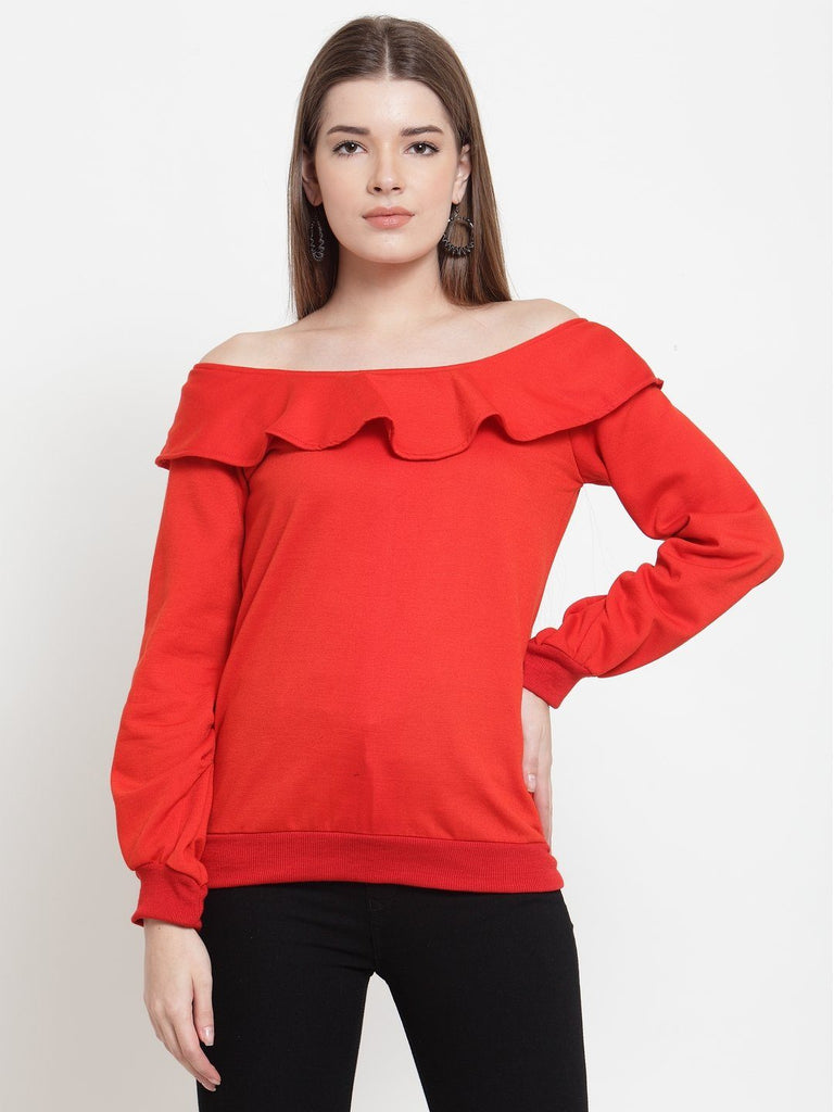 Belle Fille Red Basic Sweatshirts