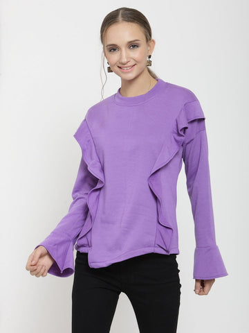 Belle Fille Casual Violet Sweatshirts