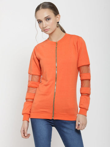 Belle Fille Casual Orange Sweatshirts