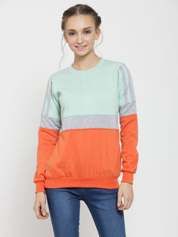 Belle Fille Casual Sea Green Sweatshirts