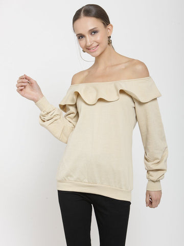 Belle Fille Stylish Beige Sweatshirts