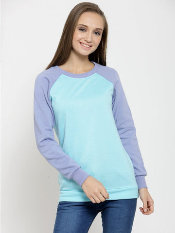 Belle Fille Casual Turquoise Sweatshirts