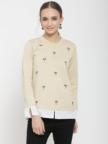 Belle Fille Fashionable Beige Sweatshirts
