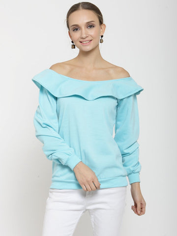 Belle Fille Edgy Turquoise Blue Sweatshirts