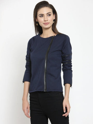 Belle Fille Navy Blue Simple Sweatshirts
