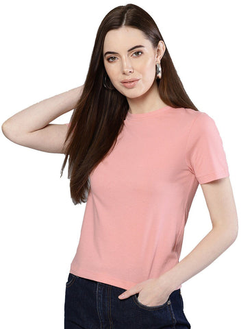 Besiva Women's Solid Half Sleeve Pink Crew Neck T-Shirt