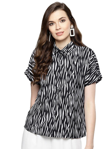 Besiva Women's Animal Print Half Sleeve Shirt